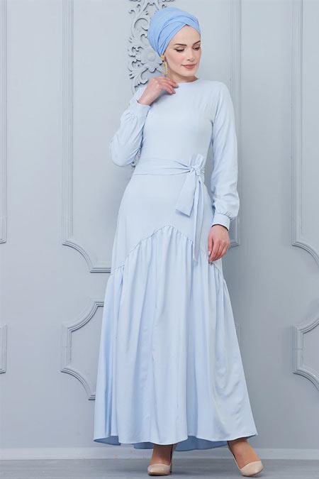 Butik Neşe Bebe Mavisi Eteği Fırfır Detaylı Elbise