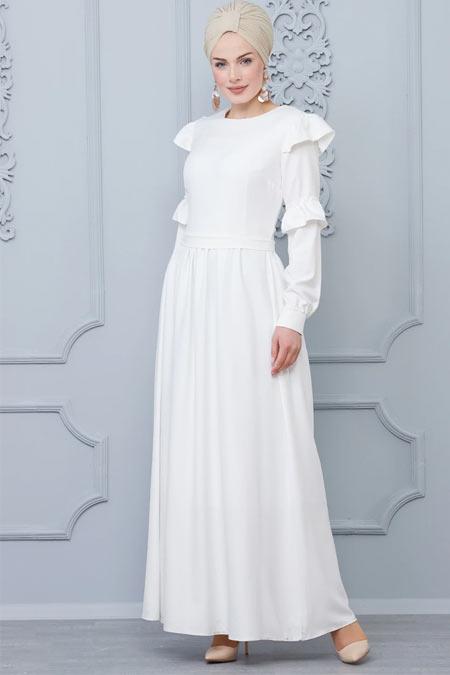Butik Neşe Beyaz Fırfır Detaylı Elbise