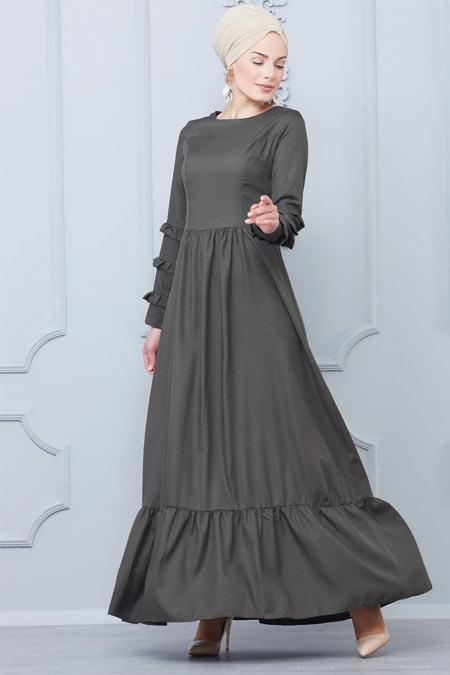 Butik Neşe Haki Kolları Katlamalı Elbise