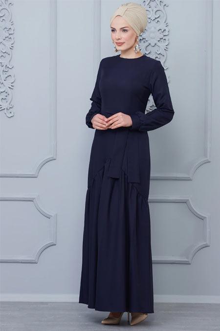 Butik Neşe Lacivert Eteği Fırfır Detaylı Elbise