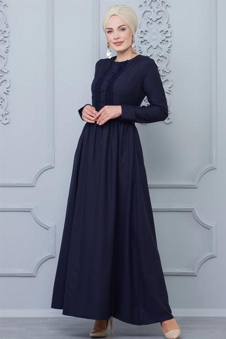 Butik Neşe Lacivert Güpür Süslemeli Elbise