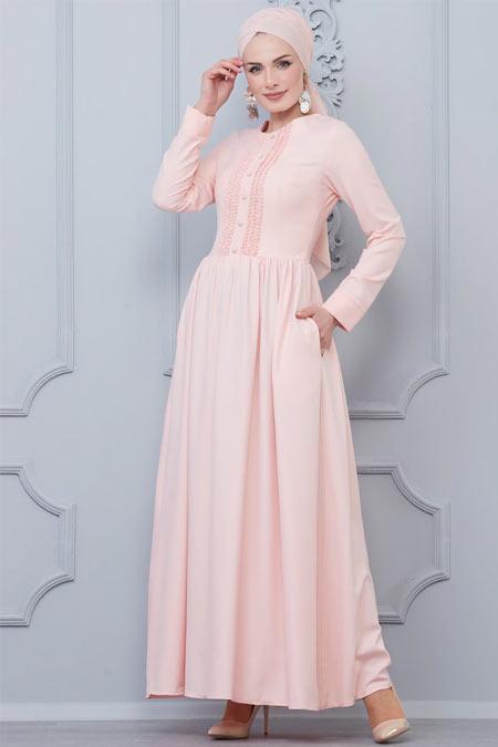 Butik Neşe Somon Güpür Süslemeli Elbise