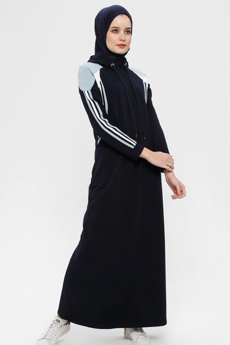 Bwest Lacivert Kapüşonlu Spor Elbise
