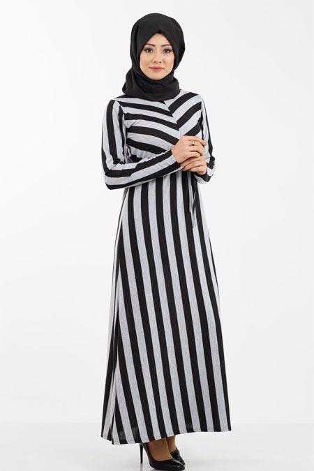Gri Çizgi Desenli Tesettür Elbise
