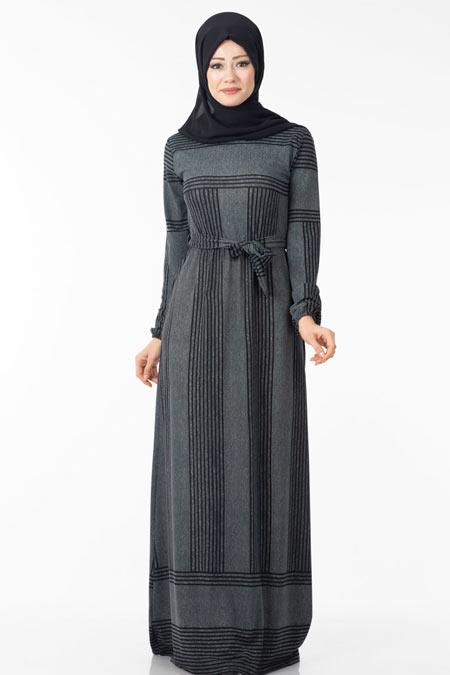 Çizgili Tesettür Elbise