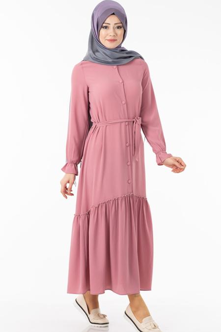 Pembe Düğmeli Eteği Fırfırlı Tesettür Elbise