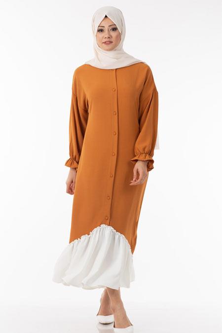 Hardal Düğmeli Fırfır Detaylı Tesettür Elbise