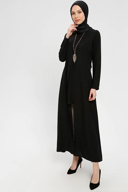 ELİT LİFE Siyah Kolyeli Uzun Tunik