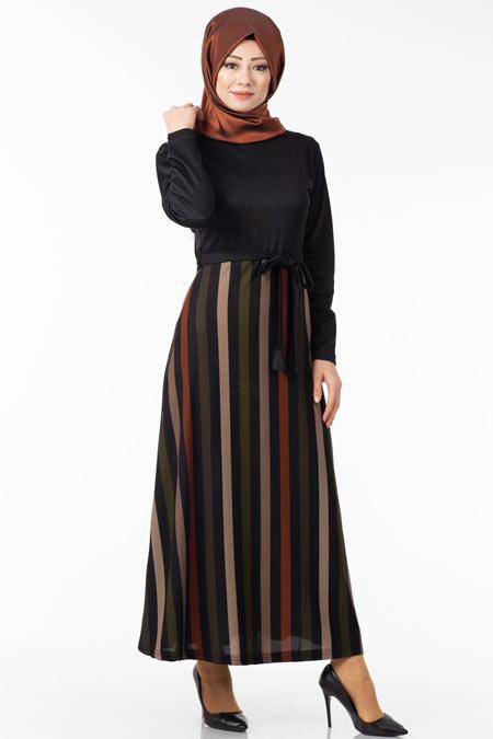 Eteği Çizgi Desenli Tesettür Elbise