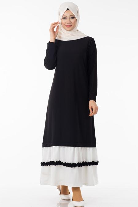Siyah Eteği Fırfır Detaylı Tesettür Elbise