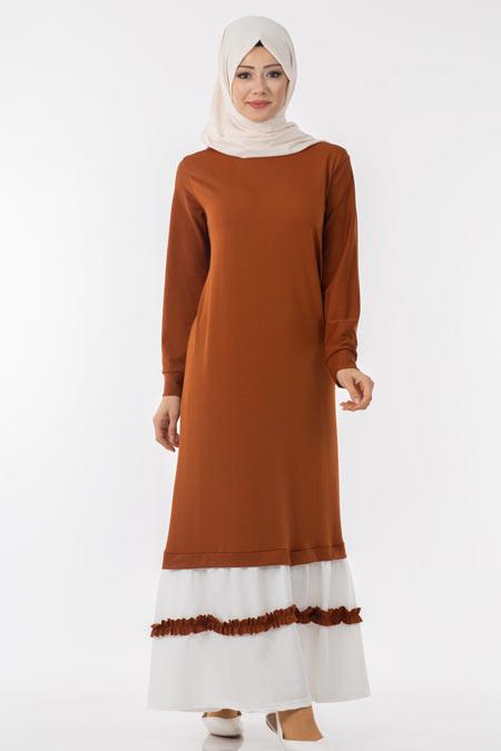 Eteği Fırfır Detaylı Tesettür Elbise