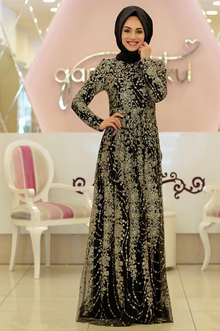 Gamze Özkul Siyah Gold Sim Desenli Abiye Elbise
