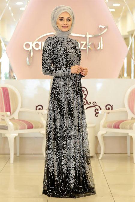 Gamze Özkul Siyah Gümüş Sim Desenli Abiye Elbise