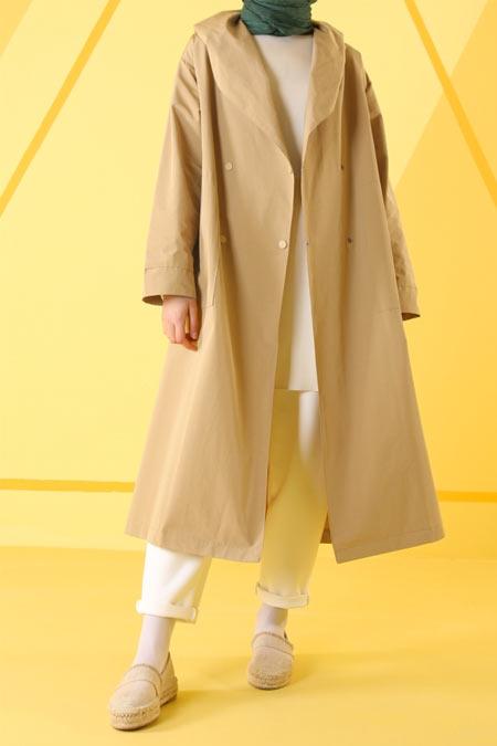HE-QA Camel Kapüşonlu Yağmurluk