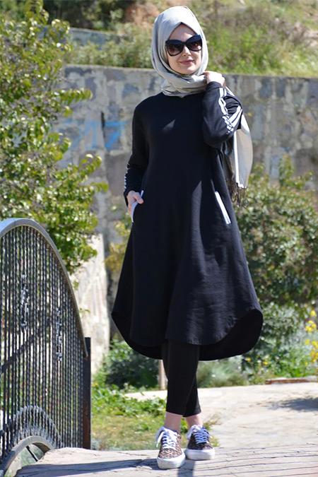 Henna Elısa Siyah Pamuk Doğal Kumaş Biyeli Tunik