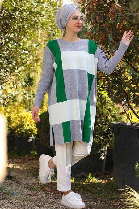 İnşirah Gri Yeşil Desenli Tunik