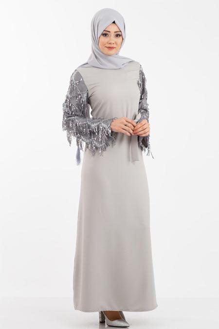 Gri Kolu Pullu Saçaklı Tesettür Elbise