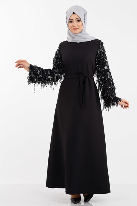 Siyah Kolu Pullu Saçaklı Tesettür Elbise