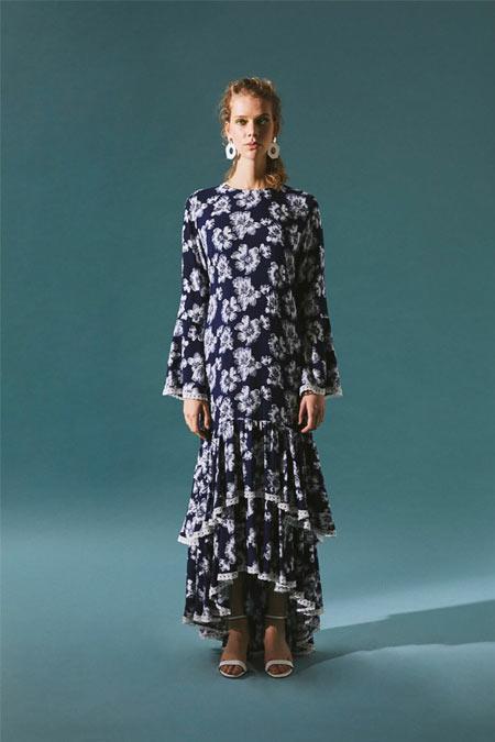 Latifa İndigo Rio Uzun Fırfırlı Elbise