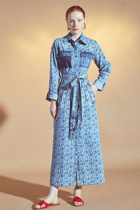 Latifa Mavi Denim Elbise