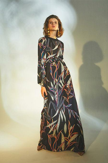 Latifa Siyah Elen Elbise