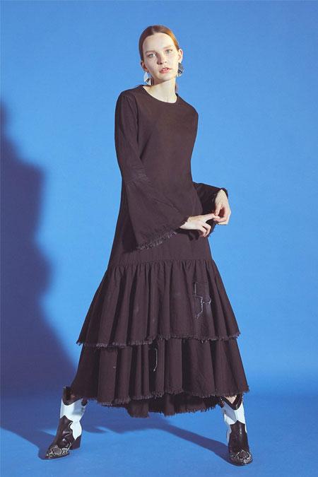 Latifa Siyah Volanlı Denim Elbise