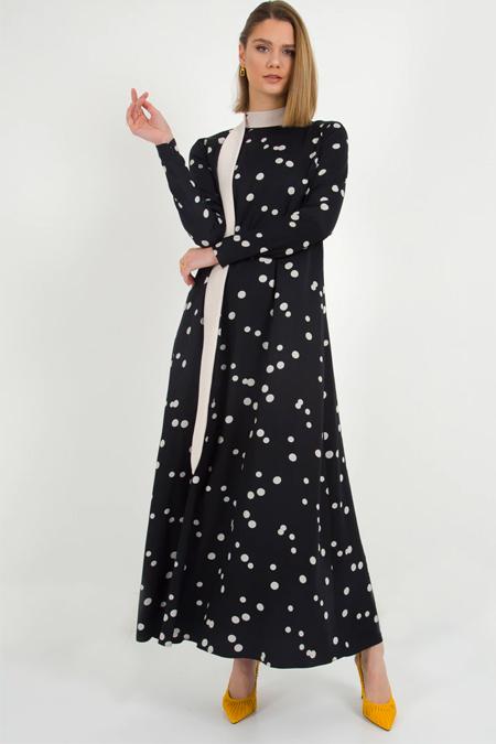 Liolle Siyah Yakası Kuşaklı Puantiyeli Elbise