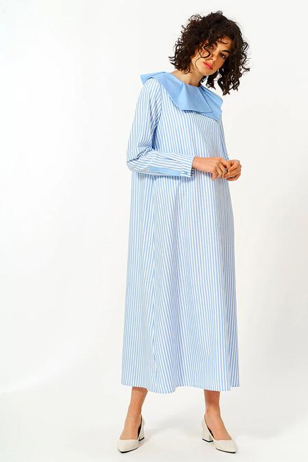 Mevra Mavi Yaka Detay Elbise
