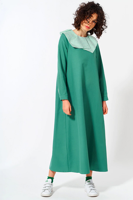 Mevra Yeşil Yaka Detay Elbise