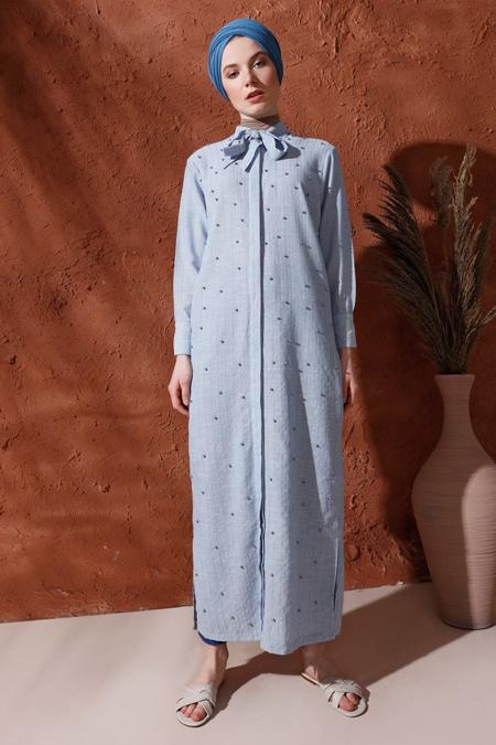 Mnatural Açık Mavi İncili Boydan Düğmeli Elbise
