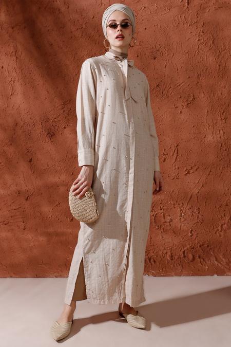 Mnatural Taş İnci Detaylı Boydan Düğmeli Elbise