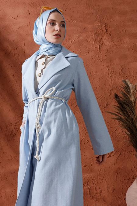 Mnatural Mavi Cep Detaylı Şal Yaka Kap