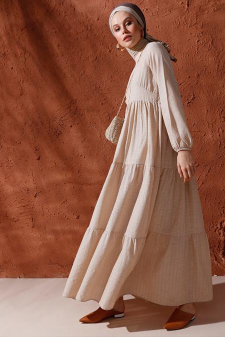 Mnatural Taş Doğal Kumaşlı Kol Ucu Lastikli Elbise