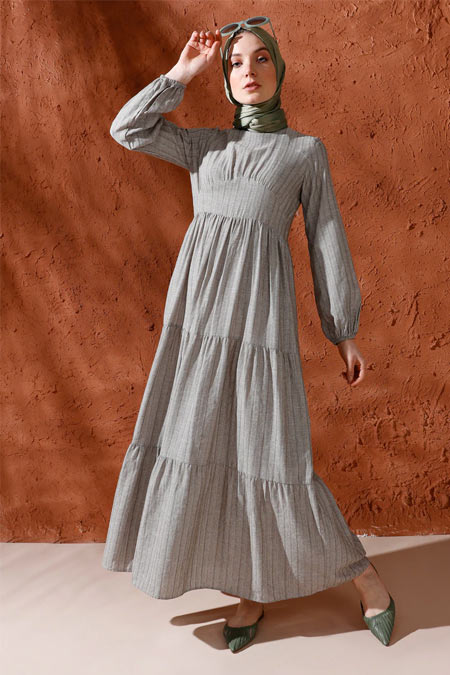 Mnatural Haki Doğal Kumaşlı Kol Ucu Lastikli Elbise