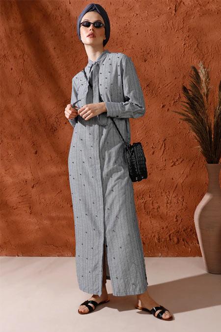 Mnatural Lacivert Siyah İnci Detaylı Boydan Düğmeli Elbise