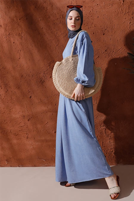 Mnatural Mavi Doğal Kumaşlı Pileli Keten Elbise
