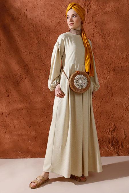 Mnatural Sarı Doğal Kumaşlı Pileli Keten Elbise