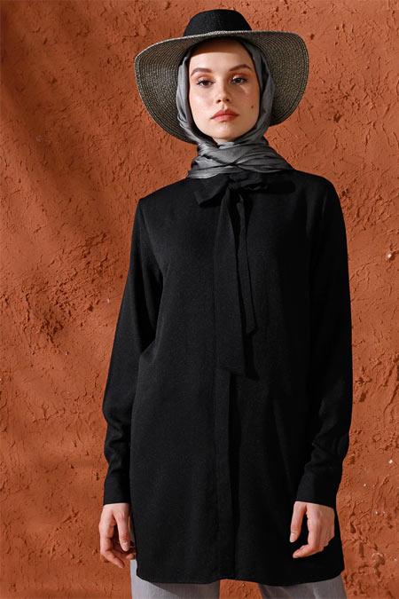 Mnatural Siyah Doğal Kumaşlı Yakası Bağcıklı Gömlek