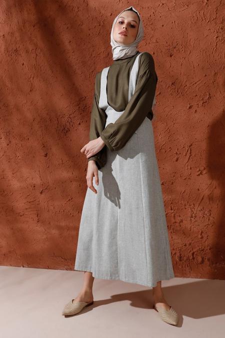 Mnatural Yeşil Pamuklu Salopet Elbise