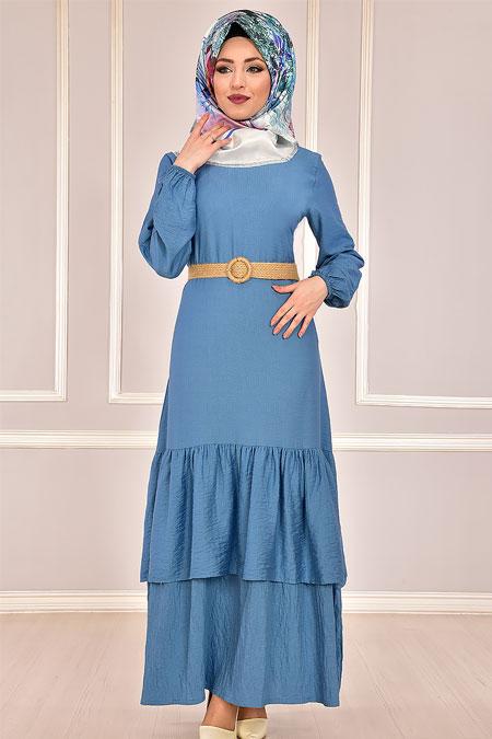 Modamerve Mavi Hasır Kemerli Fırfırlı Elbise