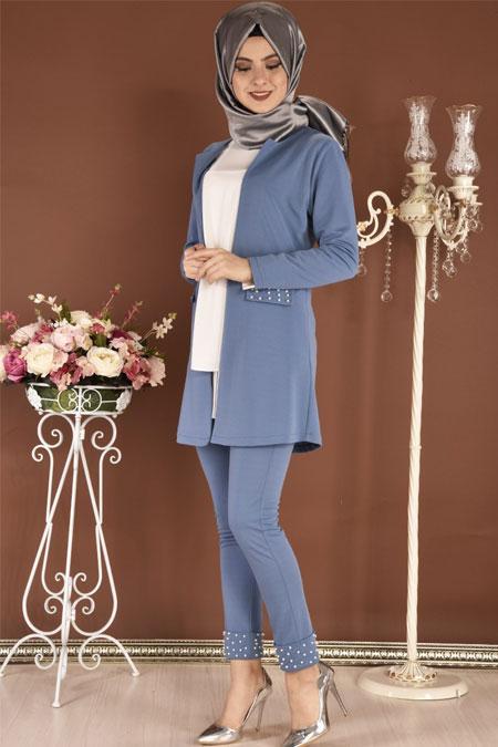 Modamerve Mavi İncili Ceket Pantolon İkili Takım