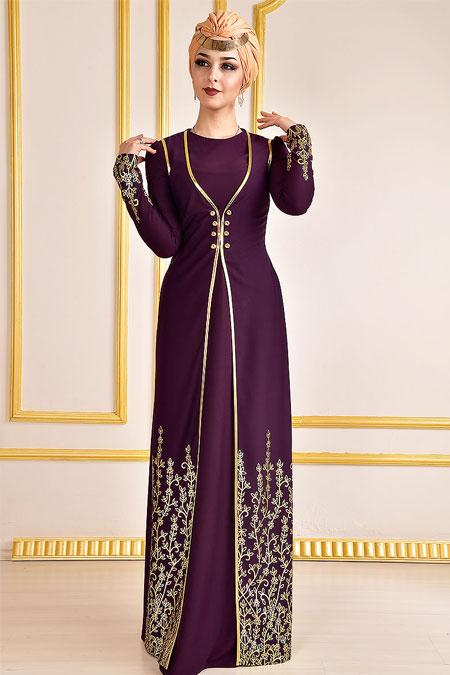 Modamerve Mor Yelek Görünümlü Elbise