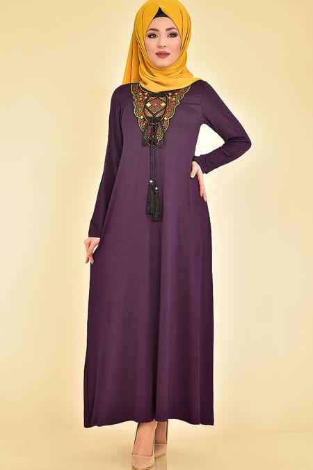 Modamerve Ön Taşlı ve İşlemeli Elbise
