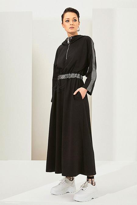Muni Muni Siyah Laconic File Garnili Elbise
