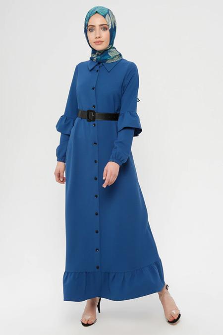 Panaline İndigo Düğmeli Uzun Elbise
