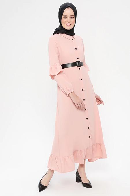 Panaline Pudra Düğmeli Uzun Elbise