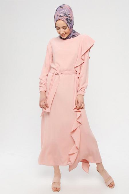 Panaline Pudra Volanlı Elbise
