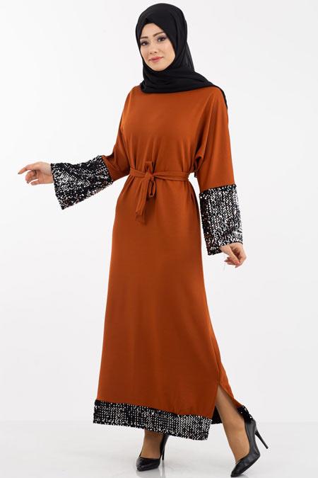 Payet Detaylı Tesettür Elbise