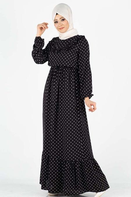 Puantiyeli Fırfır Detaylı Tesettür Elbise