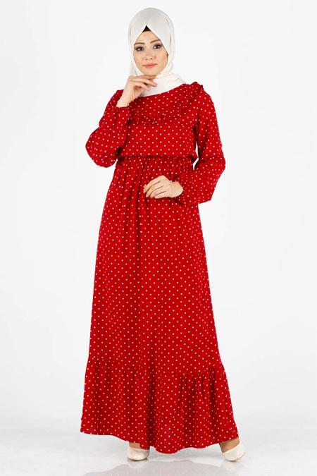 Kırmızı Puantiyeli Fırfır Detaylı Tesettür Elbise